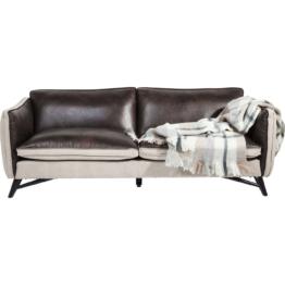 Sofa 3-Sitzer Fashionista Leder/Canvas