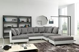 Sofa Couch Ecksofa Eckcouch in weiss / hellgrau Eckcouch mit Hocker - Minsk XXL -
