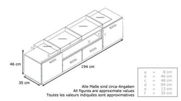TV Board Lowboard Almada V2, Korpus in Schwarz matt / Front in Schwarz Hochglanz -