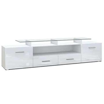 TV Board Lowboard Almada V2, Korpus in Weiß matt / Front in Weiß Hochglanz -