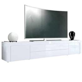 TV Board Lowboard La Paz, Korpus in Weiß Hochglanz / Front in Weiß Hochglanz mit Rahmen in Weiß Hochglanz -