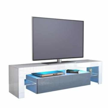 TV Board Lowboard Lima, Korpus in Weiß / Front in Grau Hochglanz -