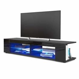 TV Board Lowboard Movie, Korpus in Schwarz matt / Fronten in Schwarz Hochglanz inkl. LED Beleuchtung in Blau -