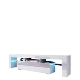 TV Board Lowboard Toro, TV Lowboard mit Grifflose Öffnen, Unterschrank, Sideboard Mediaboard, Fernsehschrank, Mediaboard (ohne Beleuchtung, Weiß / Weiß Hochglanz) -