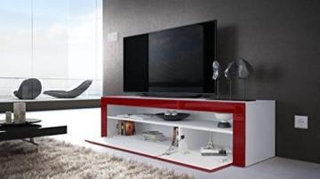 TV Board Lowboard Valencia, Korpus in Weiß matt / Front in Sandgrau Hochglanz mit Rahmen in Weiß Hochglanz -