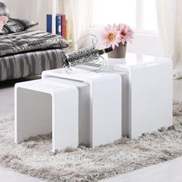 UEnjoy Satztisch Hochglanz Beistelltisch Set Weiß Couchtisch Beistelltisch 3er Set Satztische -