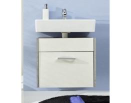 Waschbeckenschrank Badezimmer Splash weiß mit Industrie Beton grau 51 x 50 cm hängend