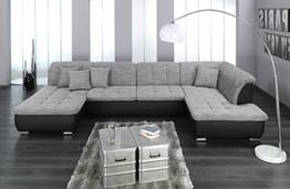 Wohnlandschaft, Couchgarnitur XXL Sofa, U-Form, schwarz/grau, Ottomane rechts -
