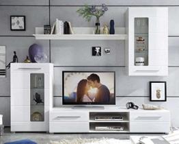 Wohnwand Anbauwand Wohnzimmerschrank 4-tlg. ELLA | Weiß Hochglanz | Verglasung -