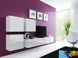 Wohnwand ' Vigo 23' Hochglanz Hängeschrank Lowboard Cube , Farbe:Weiß -