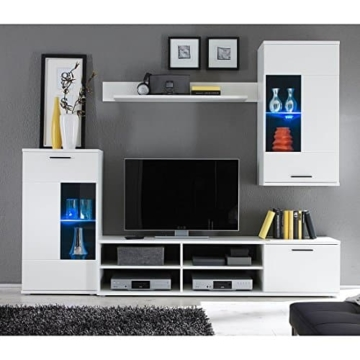 HBZ Wohnwand FRONTAL 1 in weiß Design inklusive Beleuchtung -
