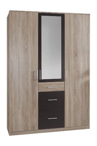 Wimex 148629 Kleiderschrank, 135 x 199 x 58 cm 3-türig mit zwei großen und einen kleinen Schubkasten, 1 Spiegel, Front und Korpus eiche sägerau Nachbildung/ Absetzungen lavafarbig -