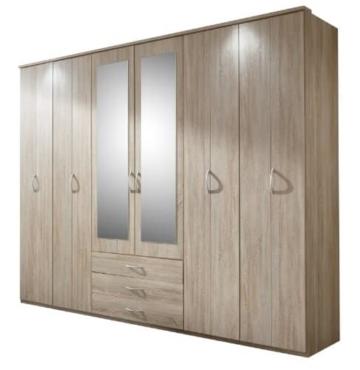 Wimex 215681 Drehtürenkleiderschrank 220 x 270 x 58 cm, Front und Korpus Eiche-sägerau-Nachbildung -
