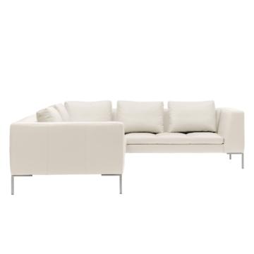 Ecksofa Madison II Echtleder - 2-Sitzer davorstehend links - 238 cm - Echtleder Neka Creme