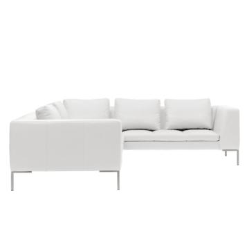 Ecksofa Madison II Echtleder - 2-Sitzer davorstehend links - 238 cm - Echtleder Neka Weiß