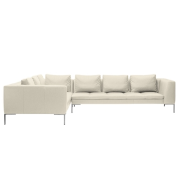 Ecksofa Madison II Echtleder - 2-Sitzer davorstehend links - 319 cm - Echtleder Neka Creme