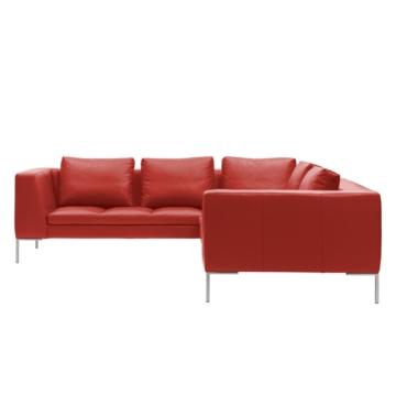 Ecksofa Madison II Echtleder - 2-Sitzer davorstehend rechts - 238 cm - Echtleder Neka Rot