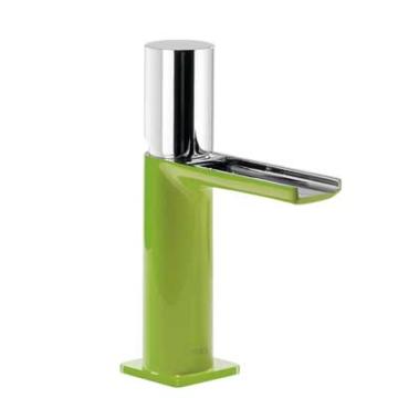 Tres Loft Colors Waschtischarmatur mit Drehgriff und Kaskade-Auslauf, grün