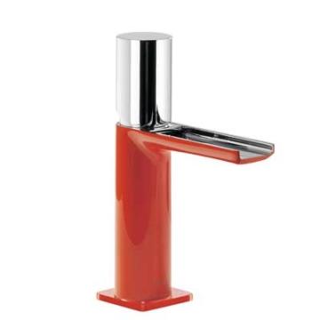 Tres Loft Colors Waschtischarmatur mit Drehgriff und Kaskade-Auslauf, rot