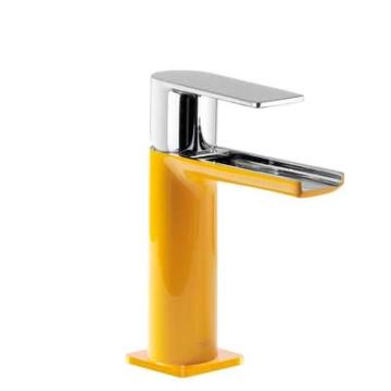 Tres Loft Colors Waschtischarmatur mit Drehhebel und Kaskade-Auslauf, bernstein-gelb
