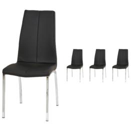 4er-Set Polsterstuhl Arden (Kunstleder, schwarz)