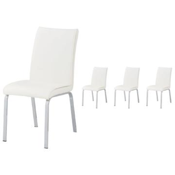 4er-Set Polsterstuhl Bramming (Kunstleder, weiß)