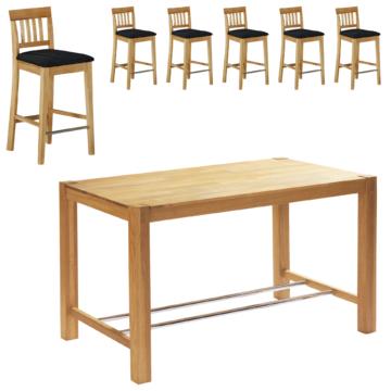 Bar-Set Bogart (80x160, 6 Stühle, schwarz, naturhell geölt)
