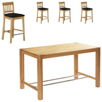 Bar-Set Bogart natur hell geölt (70x115, 4 Stühle, schwarz)
