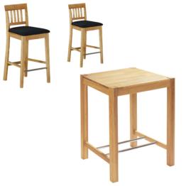 Bar-Set Bogart natur hell geölt (80x80, 2 Stühle, schwarz)