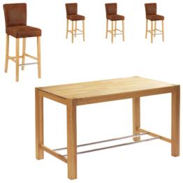 Bar-Set Bogart/Tom (70x115, 4 Stühle, hell geölt)