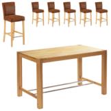Bar-Set Bogart/Tom (80x160, 6 Stühle, antikbraun)