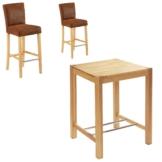 Bar-Set Bogart/Tom (80x80, 2 Barstühle, antikbraun)