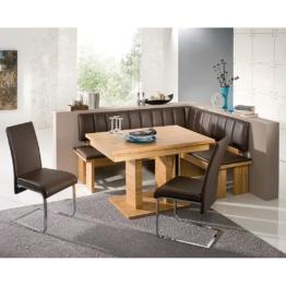 Eckbankgruppe Loano (4-teilig) - Kernbuche Dekor/Kunstleder Braun, Modoform