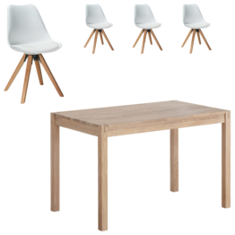 Essgruppe Ascona/Blokhus (70x115, 4 Stühle, weiß)