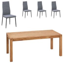 Essgruppe Ascona/Lejre (70x115, 4 Stühle, grau-schwarz)