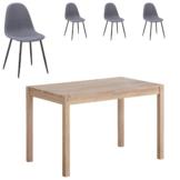 Essgruppe Ascona/Tistrup (70x115, 4 Stühle, grau-blau)