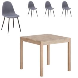 Essgruppe Ascona/Tistrup (80x80, 4 Stühle, grau-blau)