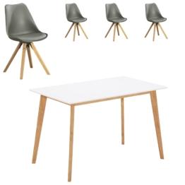 Essgruppe Blokhus (70x120, 4 Stühle, grau)