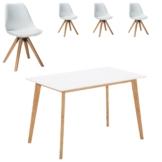 Essgruppe Blokhus (70x120, 4 Stühle, weiß)
