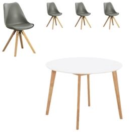 Essgruppe Blokhus (ø105, 4 Stühle, grau)