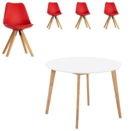 Essgruppe Blokhus (ø105, 4 Stühle, rot)