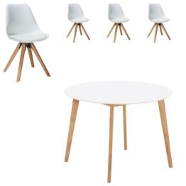 Essgruppe Blokhus (ø105, 4 Stühle, weiß)