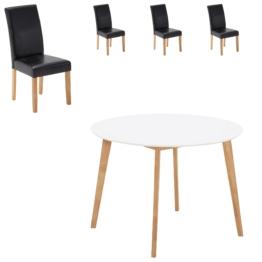 Essgruppe Blokhus/Tureby (Ø 105, 4 Stühle, schwarz)