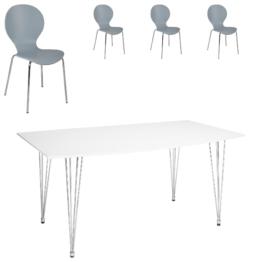 Essgruppe Fabian/ Fanny (90x160, 4 Stühle, grau)