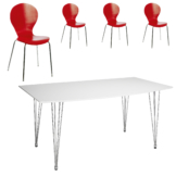 Essgruppe Fabian/ Fanny (90x160, 4 Stühle, rot)