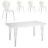Essgruppe Fabian/ Fanny (90x160, 4 Stühle, weiß)