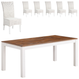 Essgruppe Fakse/Rio (90x180, 6 Stühle, weiß)