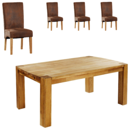 Essgruppe Goliath/Tom (100x160, 4 Stühle, antikbraun)