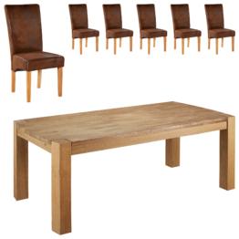 Essgruppe Goliath/Tom (100x200, 6 Stühle, antikbraun)