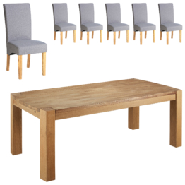 Essgruppe Goliath/Tom (100x200, 6 Stühle, grau)